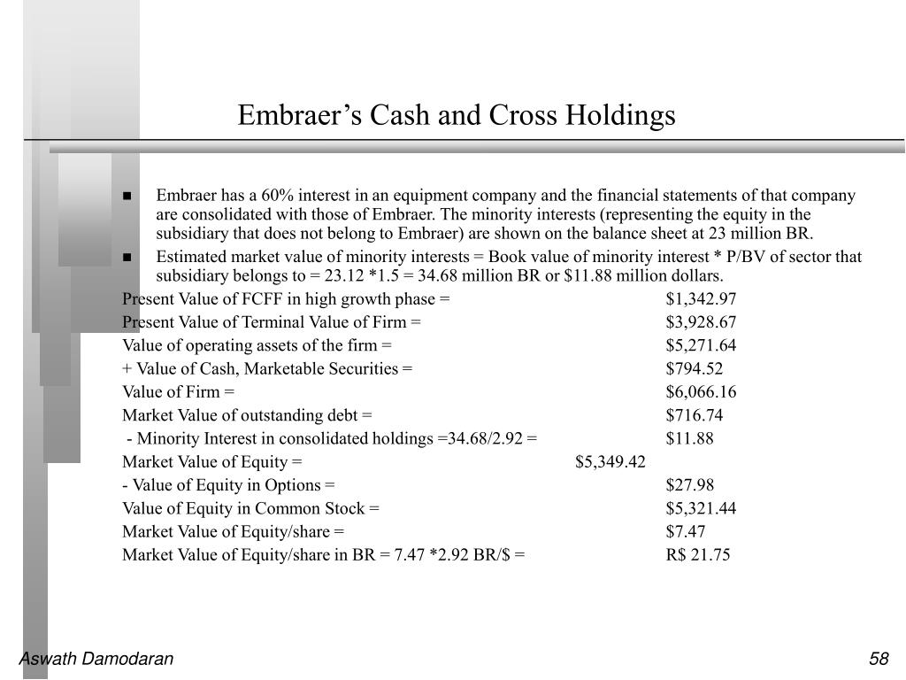 Embraer's Cash and Cross Holdings