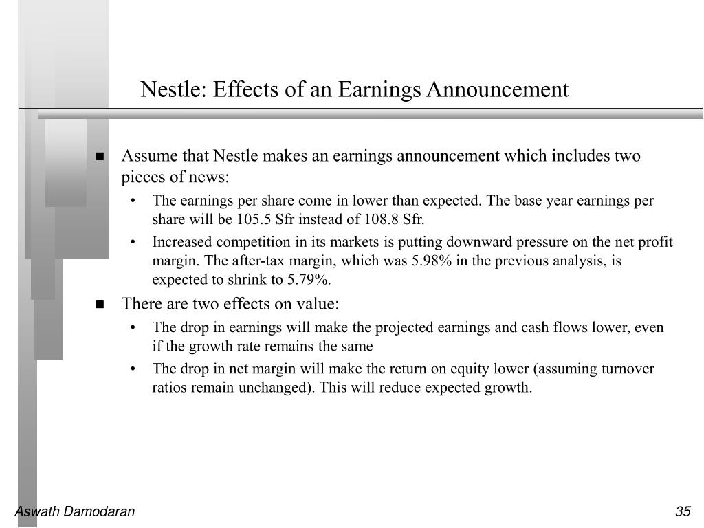 Nestle: Effects of an Earnings Announcement
