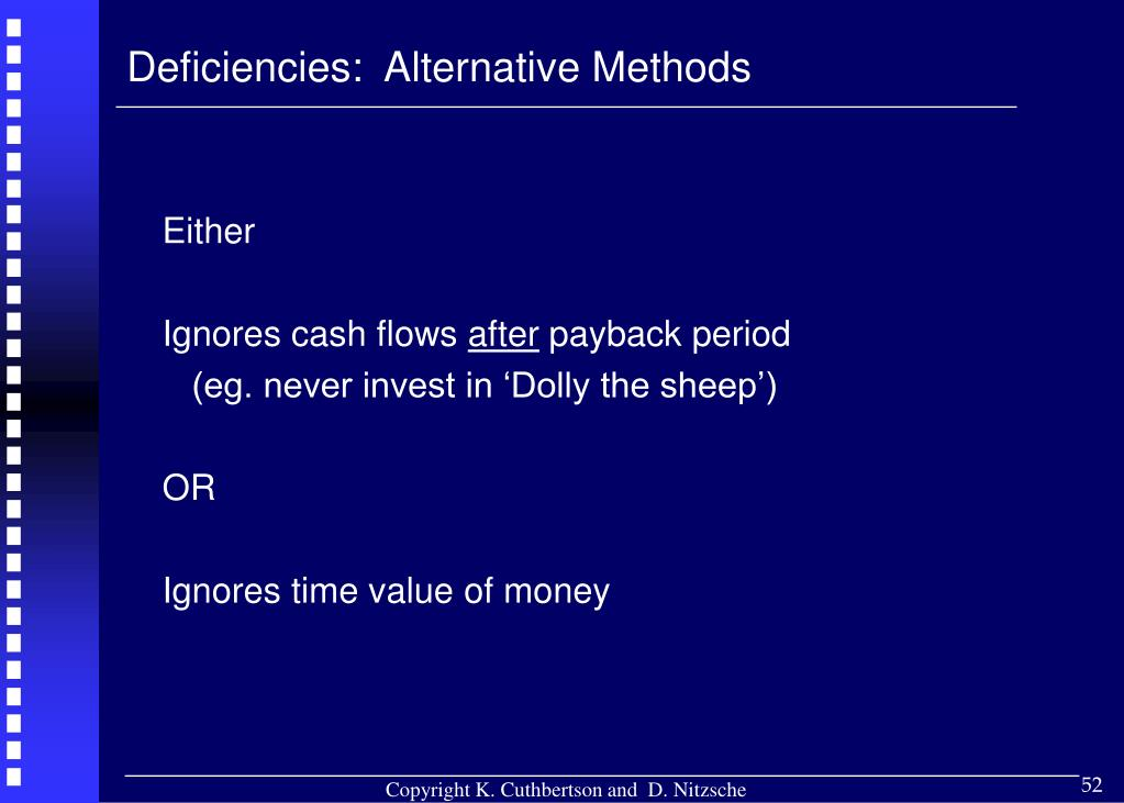 Deficiencies:  Alternative Methods