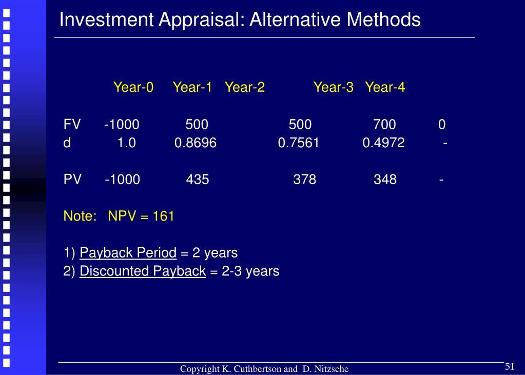 Investment Appraisal: Alternative Methods