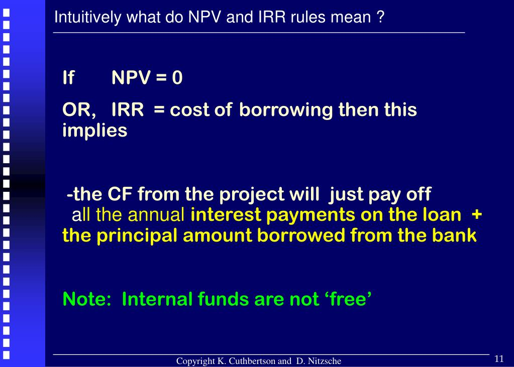Intuitively what do NPV and IRR rules mean ?