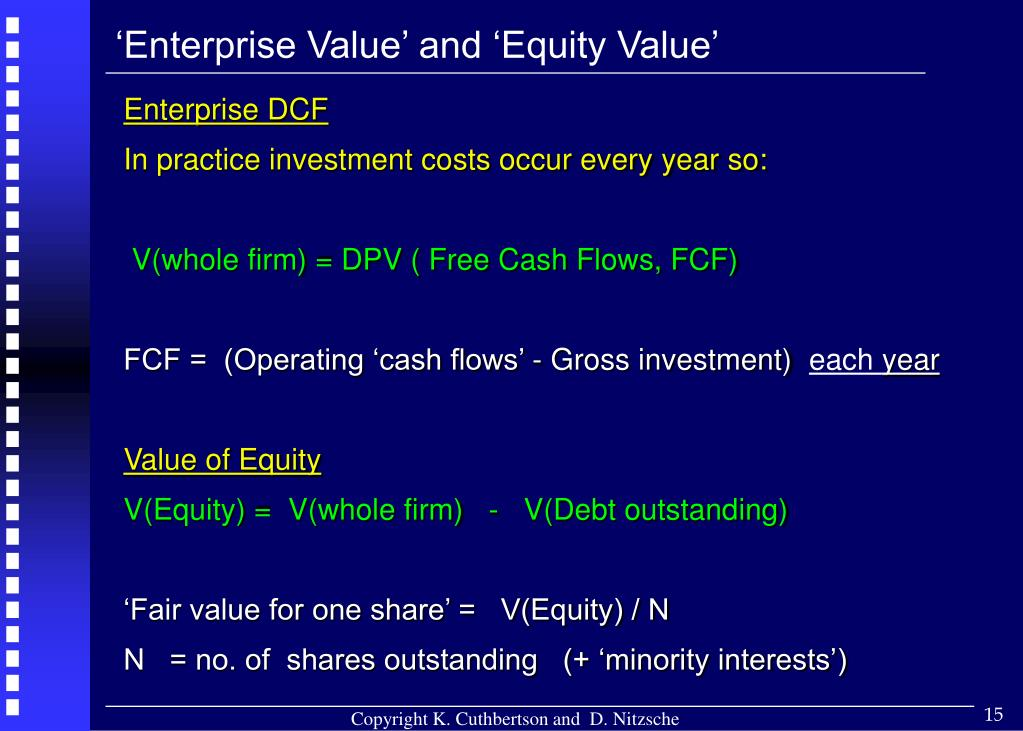 'Enterprise Value' and 'Equity Value'