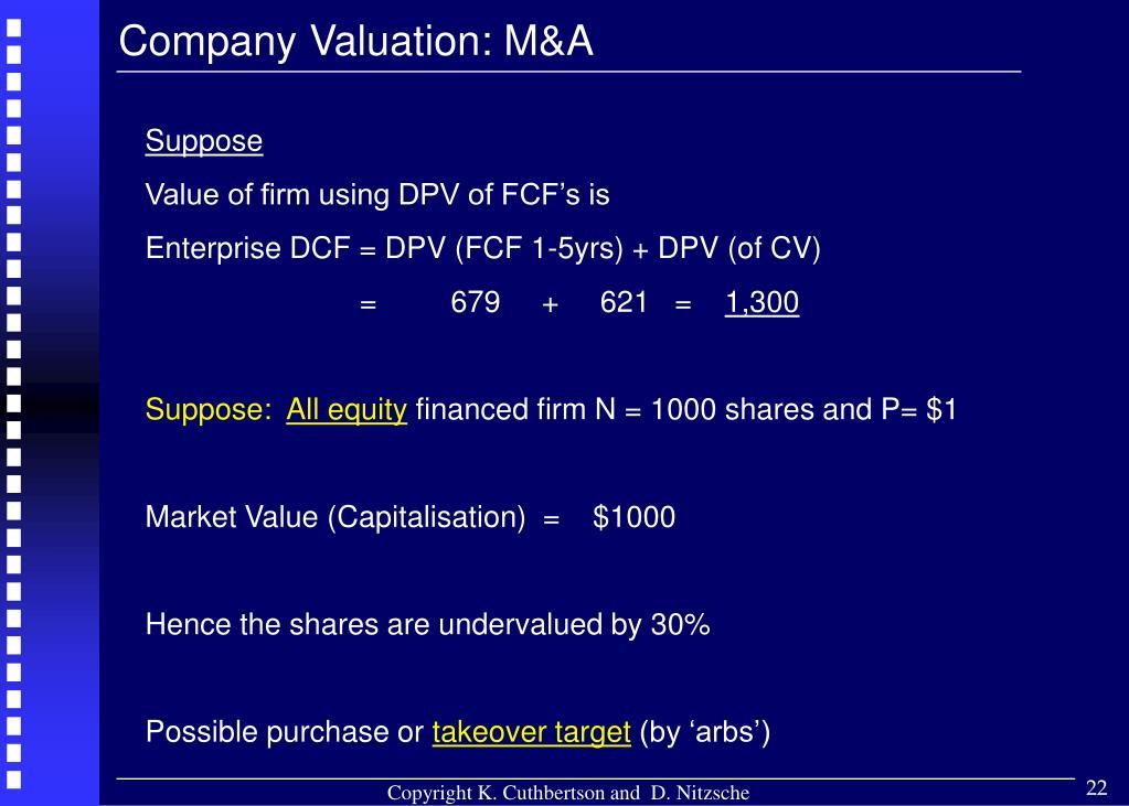 Company Valuation: M&A