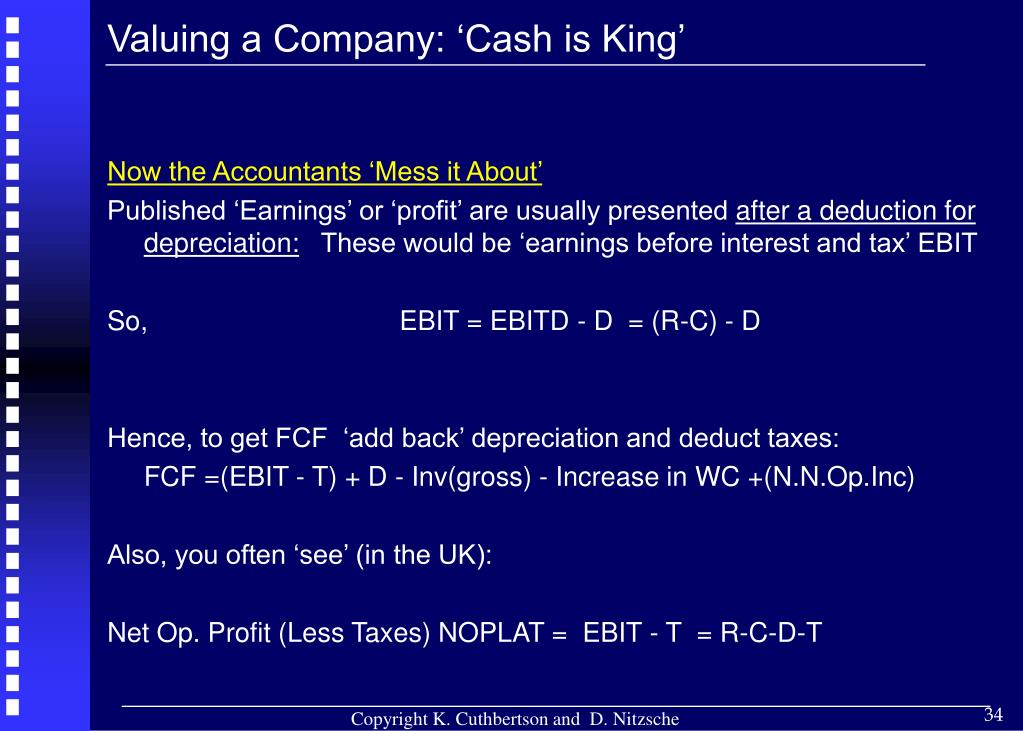 Valuing a Company: 'Cash is King'