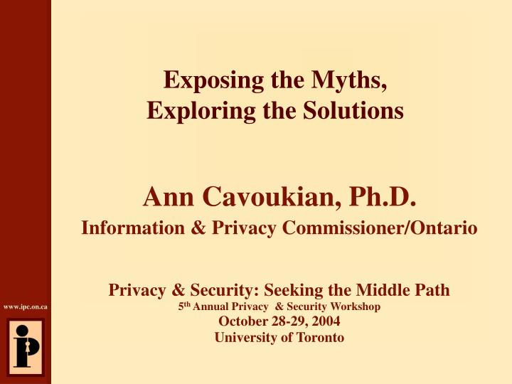 Exposing the myths exploring the solutions