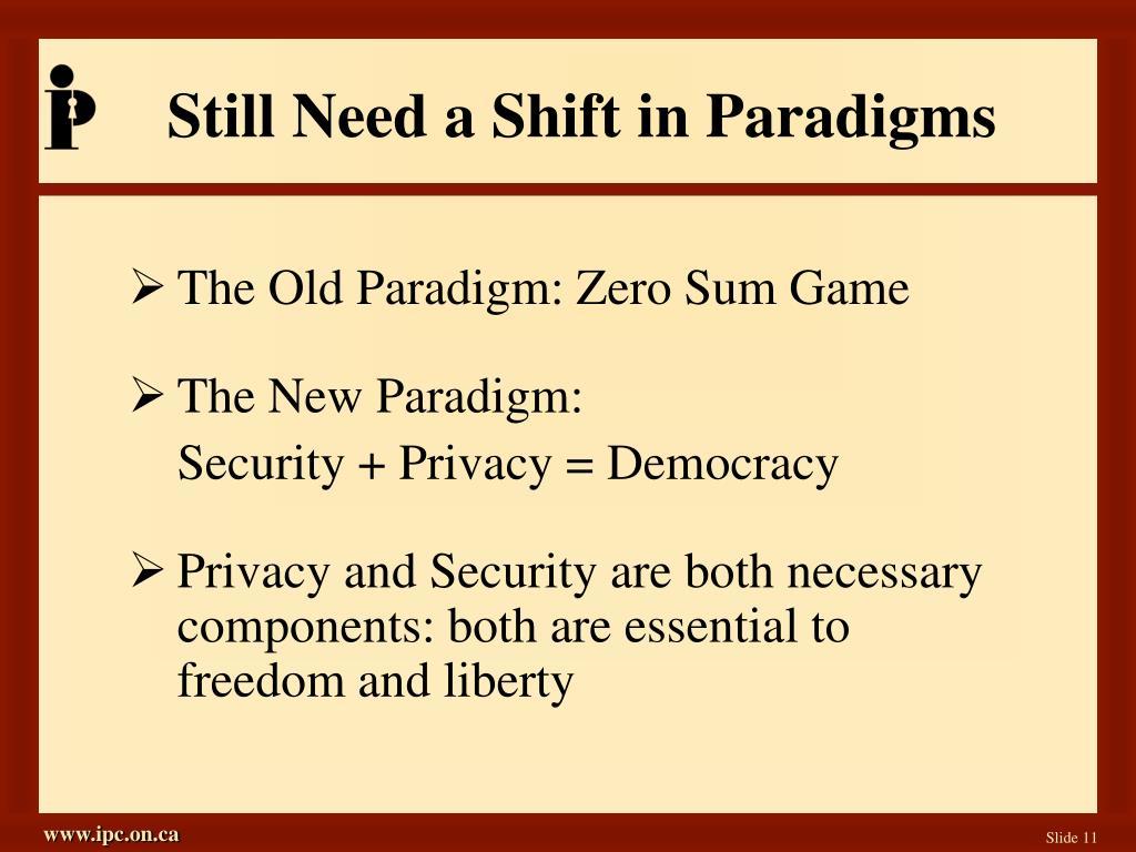 Still Need a Shift in Paradigms