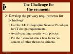 the challenge for governments