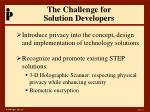 the challenge for solution developers