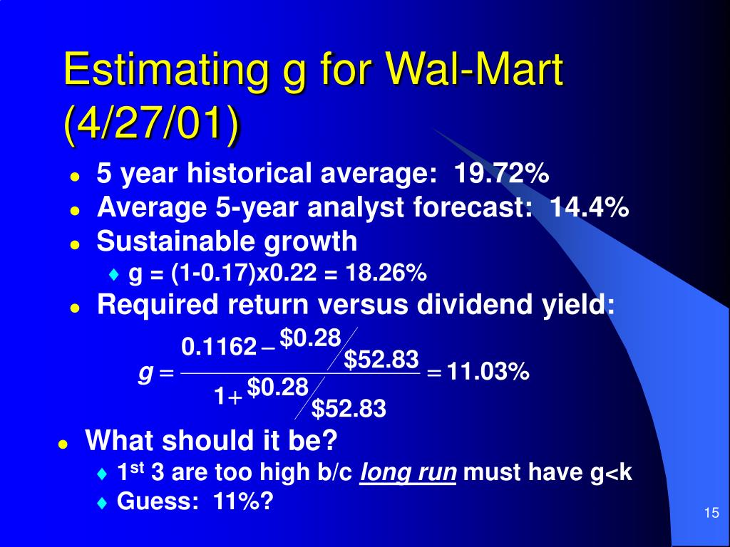 Estimating g for Wal-Mart (4/27/01)