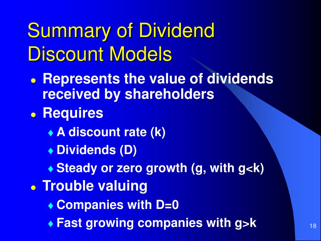 Summary of Dividend Discount Models