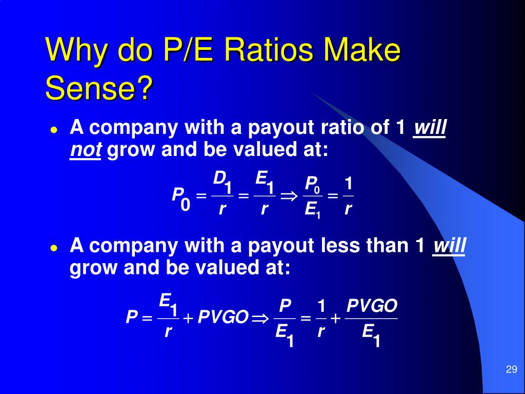 Why do P/E Ratios Make Sense?
