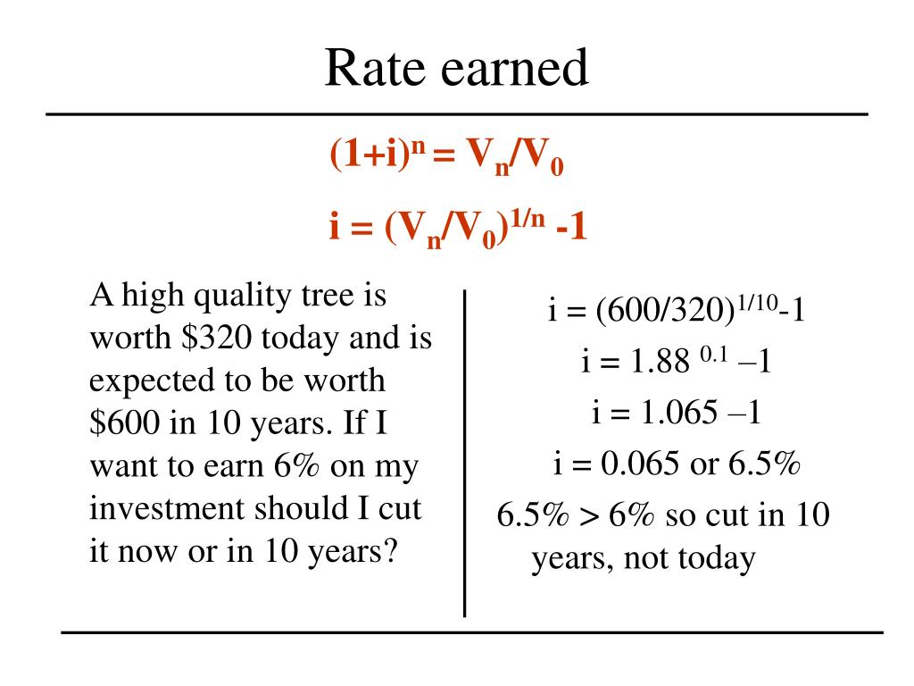 A high quality tree is worth $320 today and is expected to be worth $600 in 10 years. If I want to earn 6% on my investment should I cut it now or in 10 years?