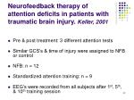 neurofeedback therapy of attention deficits in patients with traumatic brain injury keller 2001