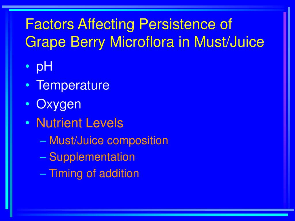 Factors Affecting Persistence of Grape Berry Microflora in Must/Juice