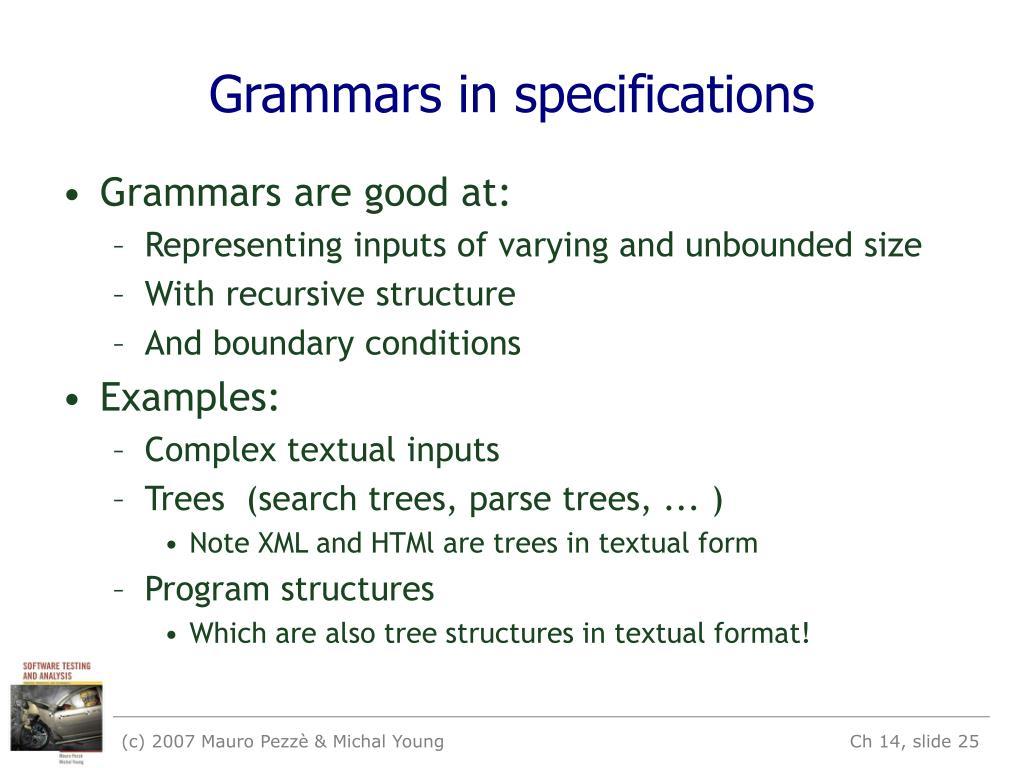 Grammars in specifications