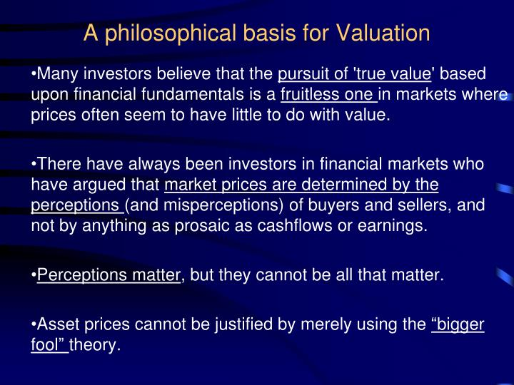 a philosophical basis for valuation n.