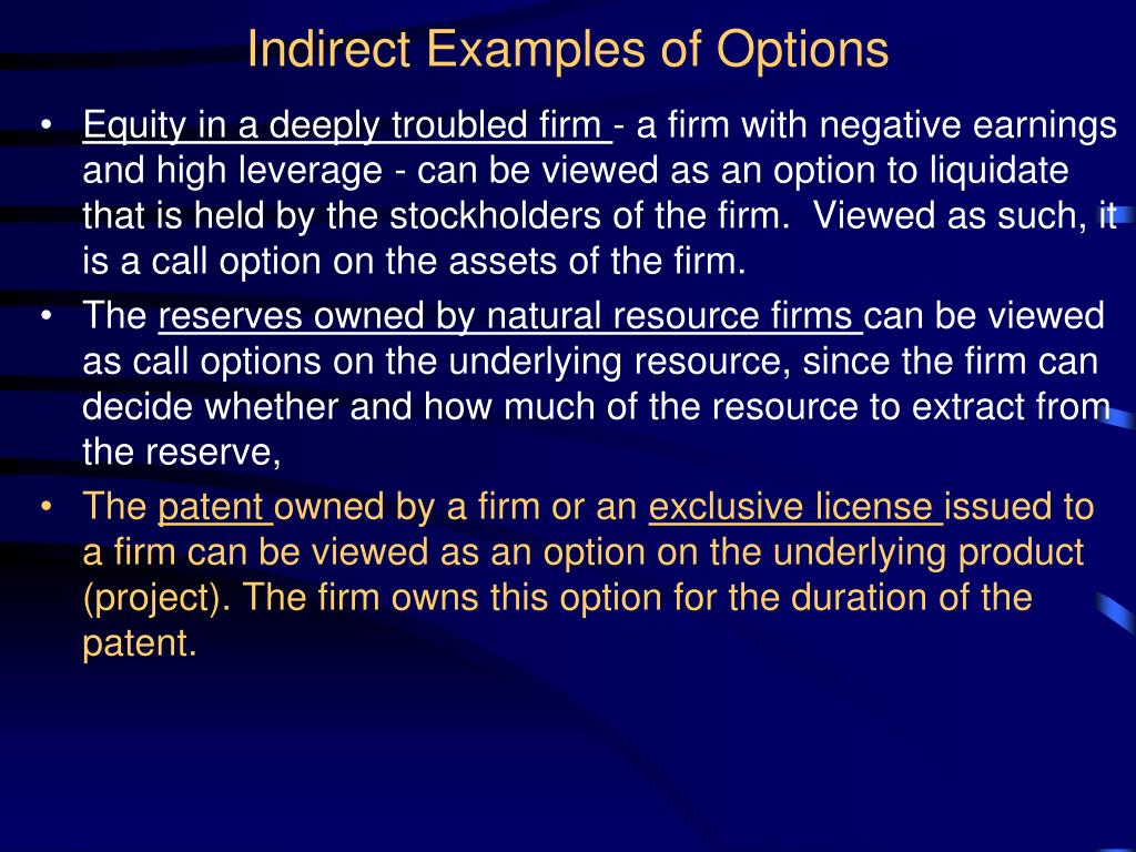 Indirect Examples of Options