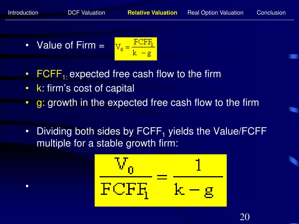 Introduction 	DCF Valuation