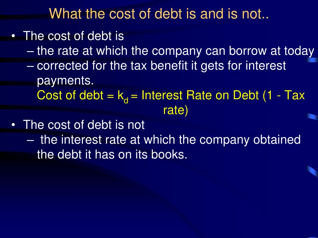 What the cost of debt is and is not..