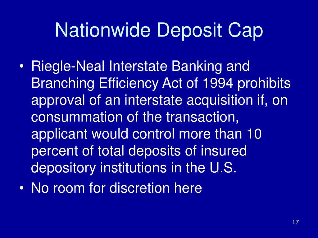 Nationwide Deposit Cap