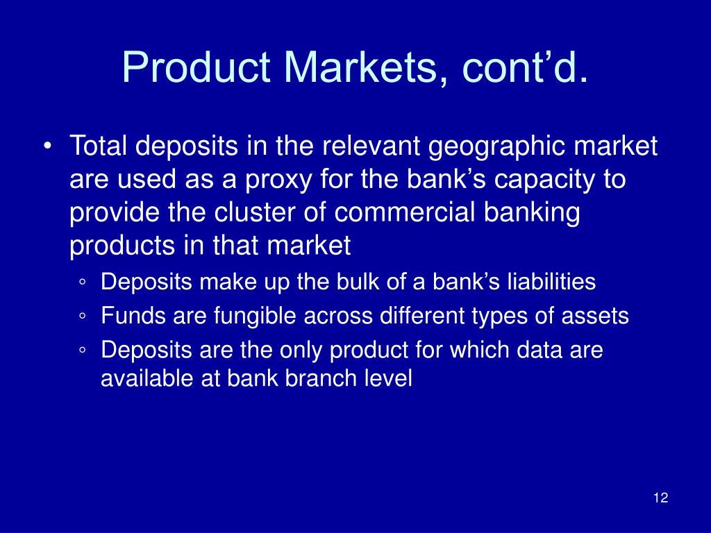 Product Markets, cont'd.