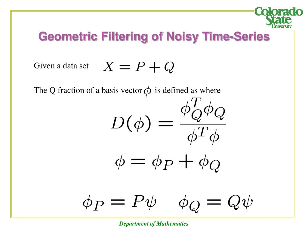 Geometric Filtering of Noisy Time-Series