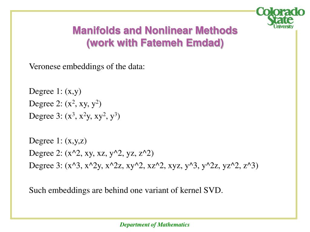 Manifolds and Nonlinear Methods