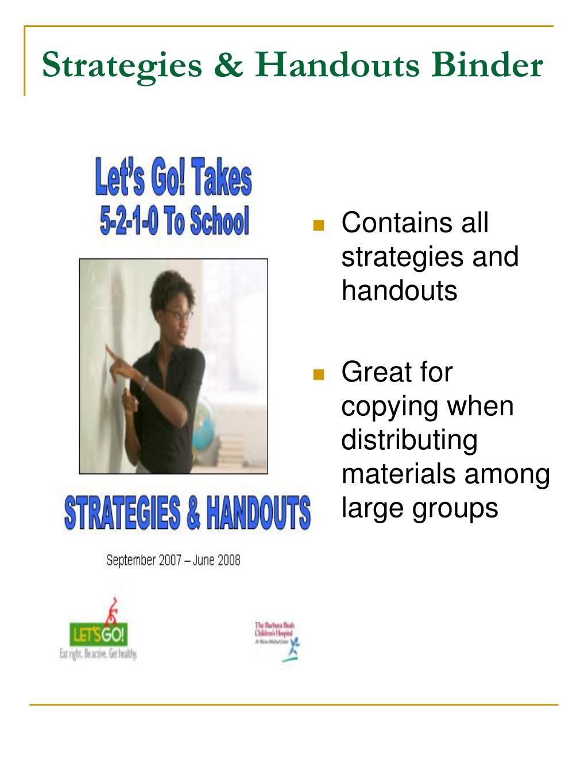 Strategies & Handouts Binder