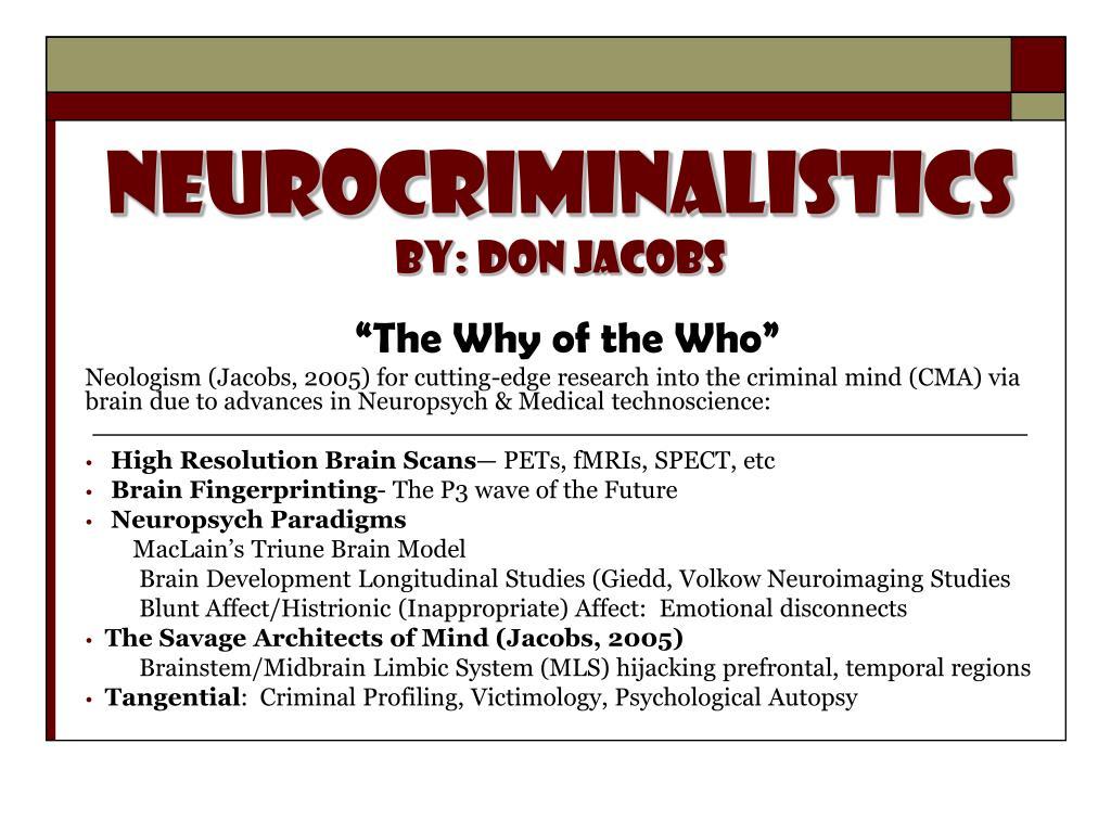 neurocriminalistics by don jacobs l.