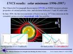 uvcs results solar minimum 1996 1997