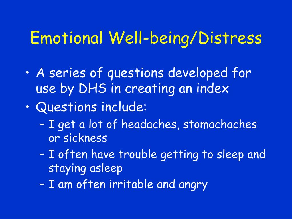 Emotional Well-being/Distress