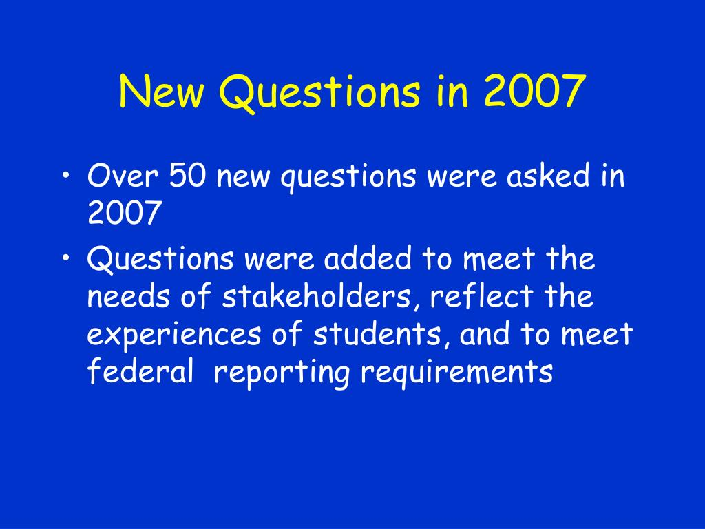New Questions in 2007