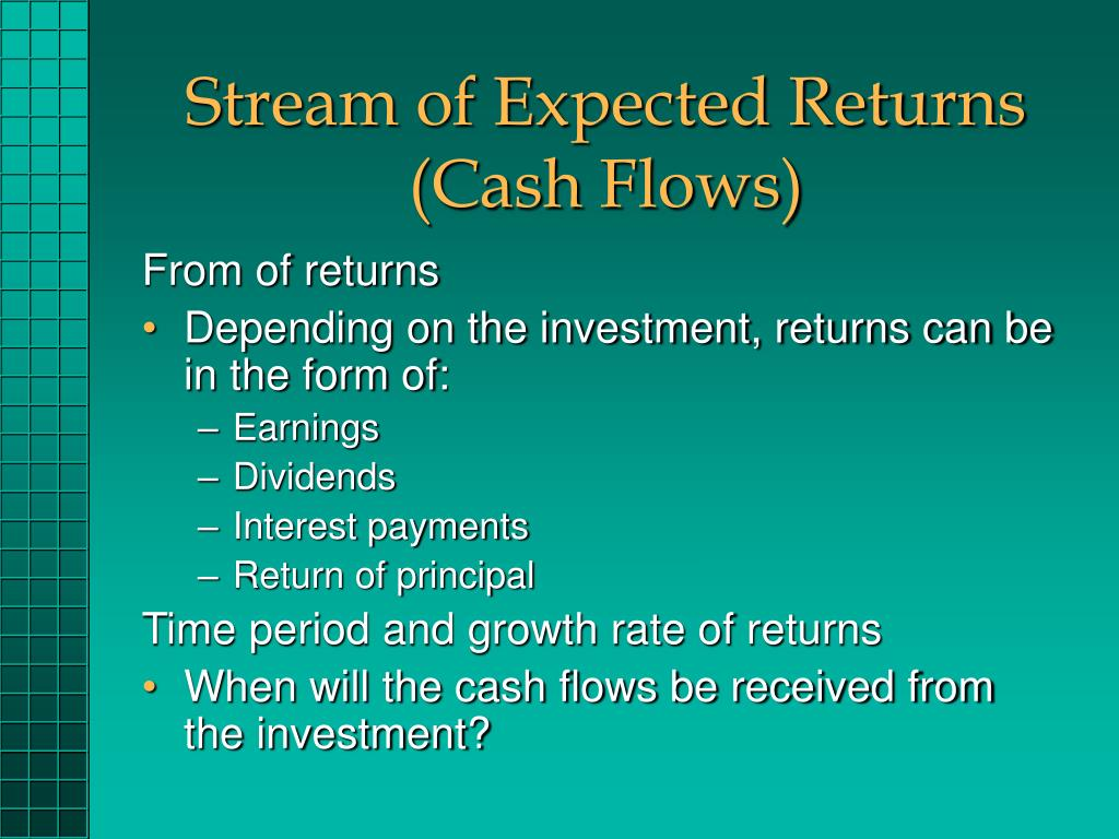 Stream of Expected Returns (Cash Flows)