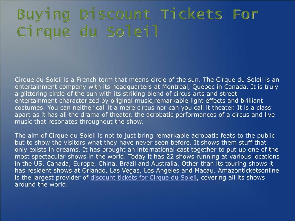 Buying Discount Tickets For Cirque du Soleil
