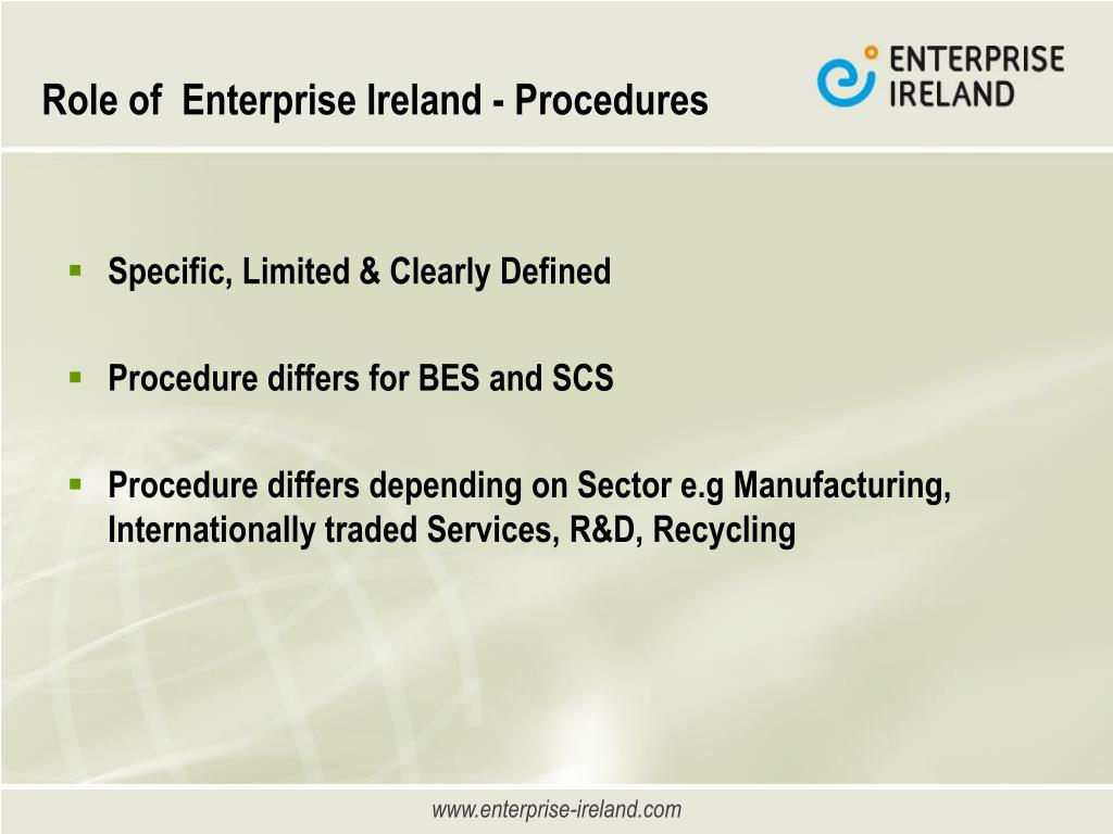 Role of  Enterprise Ireland - Procedures