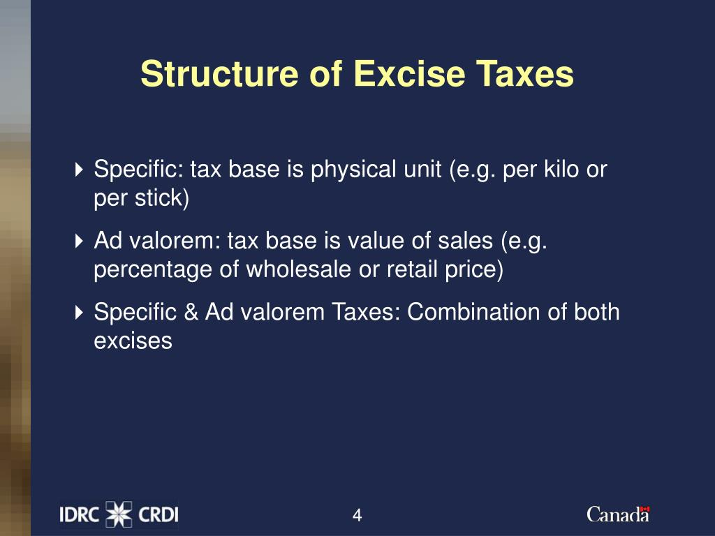 Structure of Excise Taxes