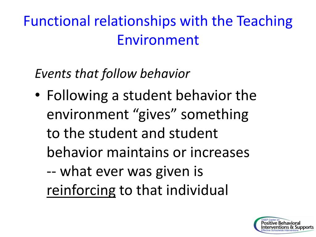 Functional relationships with the Teaching Environment