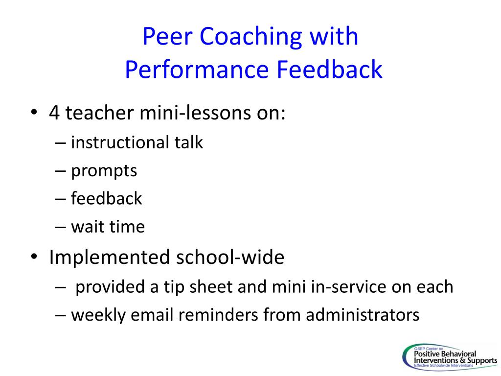Peer Coaching with