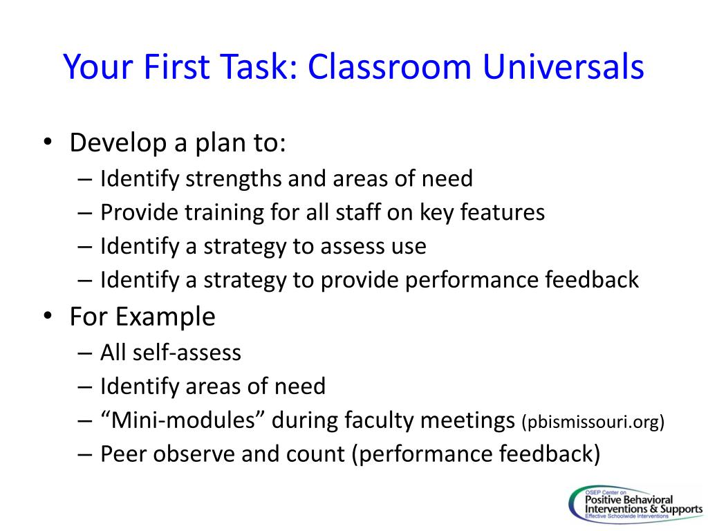 Your First Task: Classroom Universals