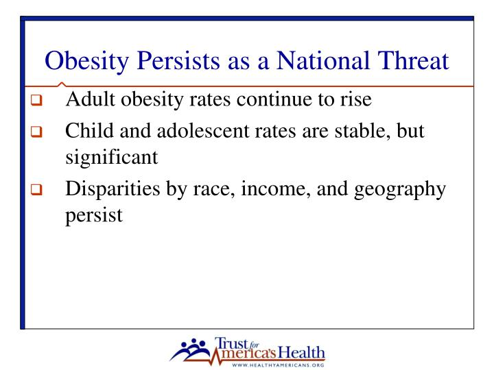 Obesity persists as a national threat