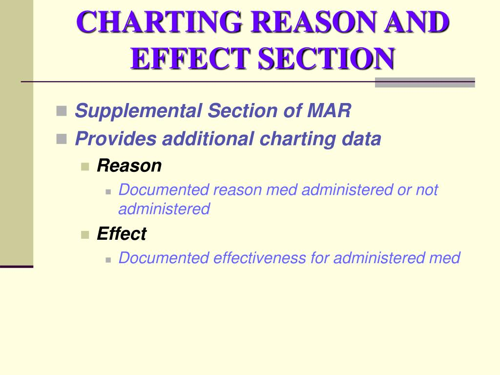CHARTING REASON AND EFFECT SECTION