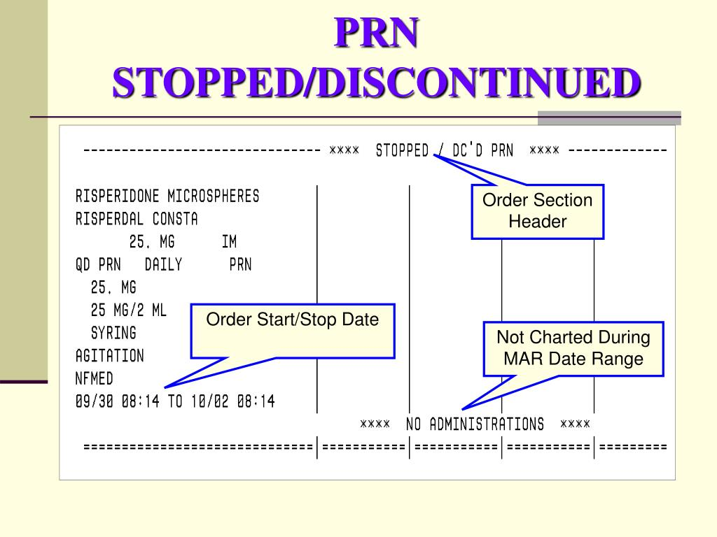 PRN STOPPED/DISCONTINUED