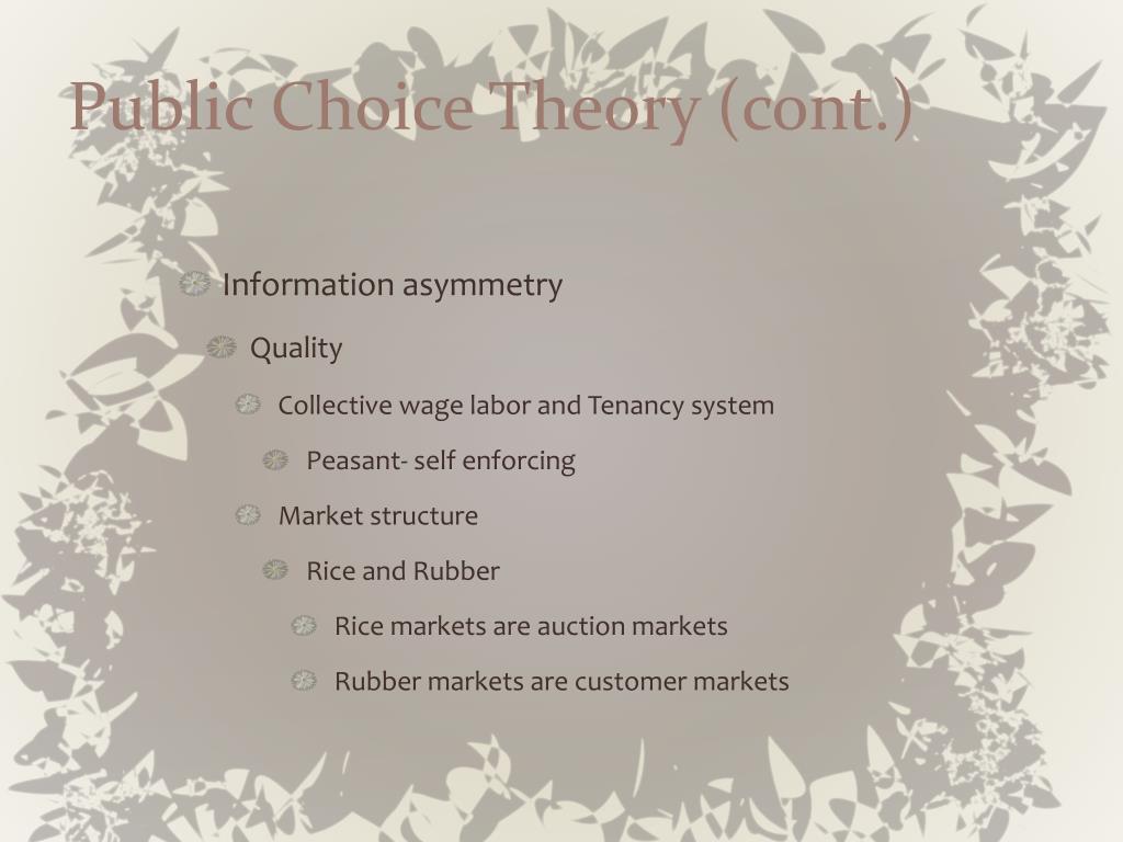 Public Choice Theory (cont.)