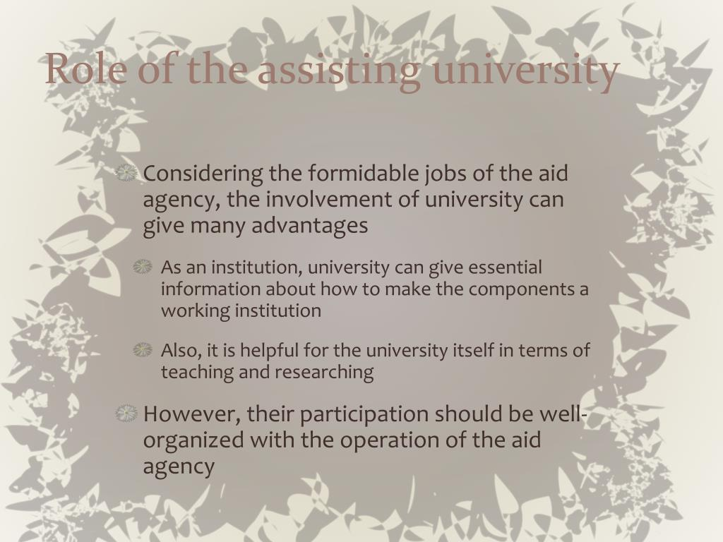 Role of the assisting university