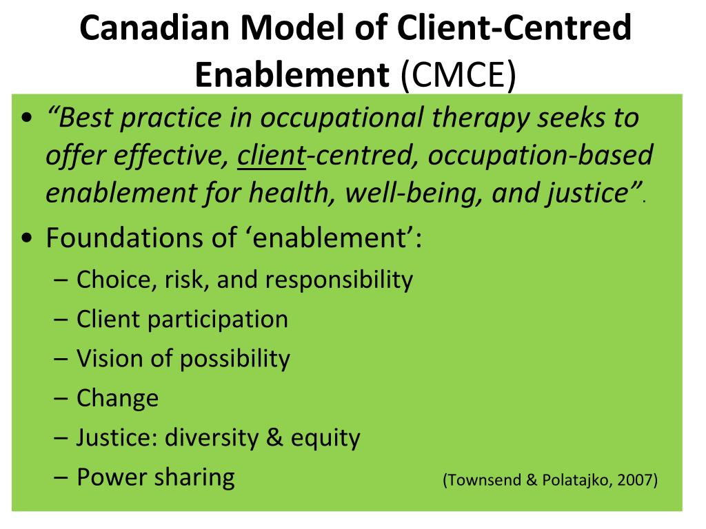 Canadian Model of Client-Centred Enablement