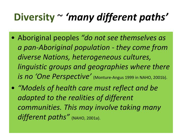 Diversity many different paths
