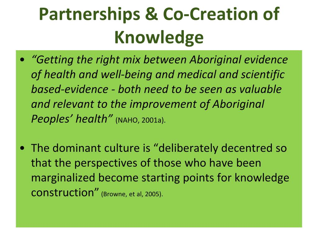 Partnerships & Co-Creation of Knowledge