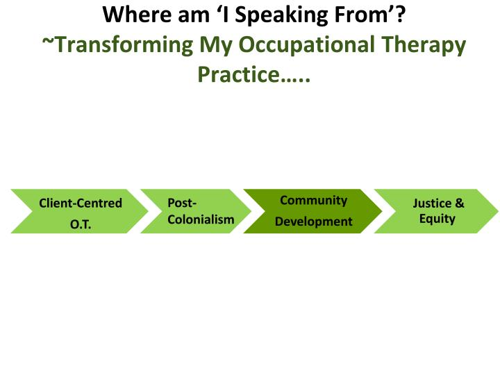 Where am i speaking from transforming my occupational therapy practice