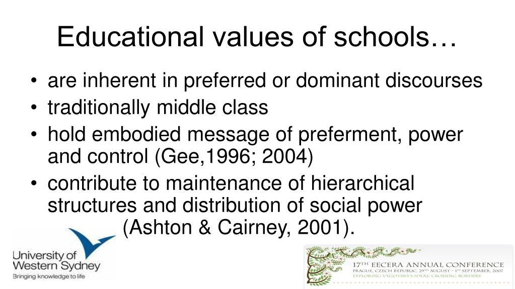 Educational values of schools…