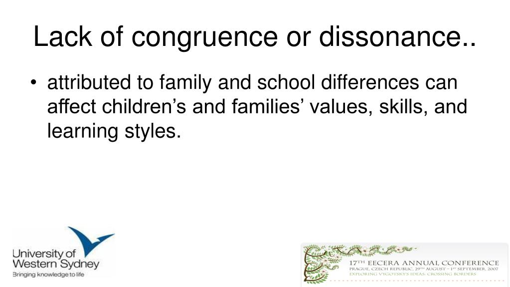 Lack of congruence or dissonance..